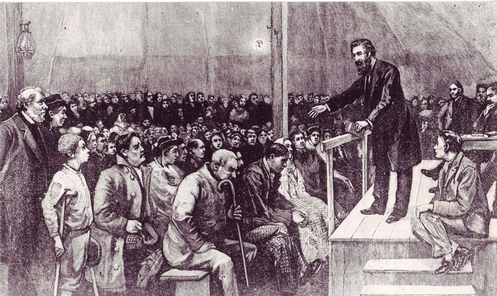 William Booth preaches at a meeting in a tent in East London (photo: International Heritage Centre)