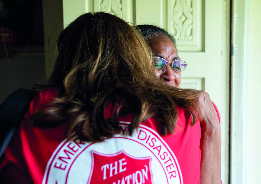 Houston resident Sandra Kizzee moved to tears by The Salvation Army's response after she and her neighbours felt forgotten in the aftermath of Hurricane Harvey (2017, photo by Daphne Nabors, submitted to The Whole World Mobilising)