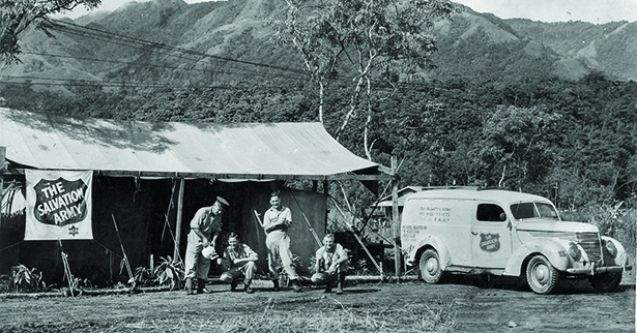 Red Shield sign at an outpost in Papua New Guinea during WWII